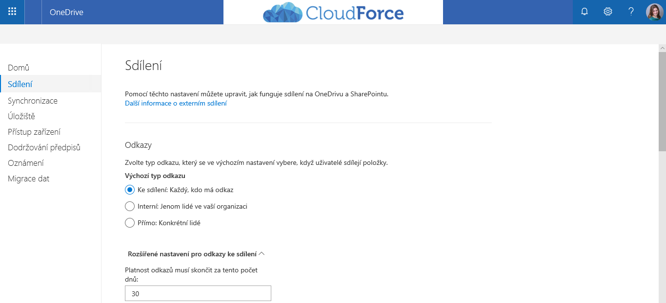OneDrive pro firmy - administrace